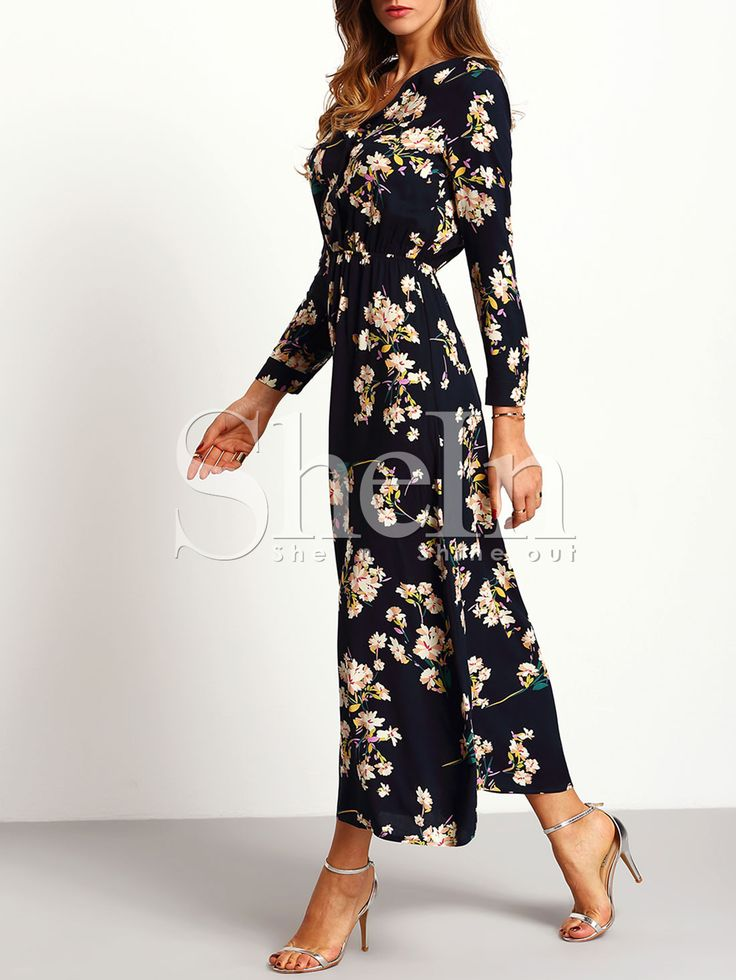 Shop Navy Long Sleeve Floral Maxi Dress online. SheIn offers Navy Long Sleeve Floral Maxi Dress & more to fit your fashionable needs.