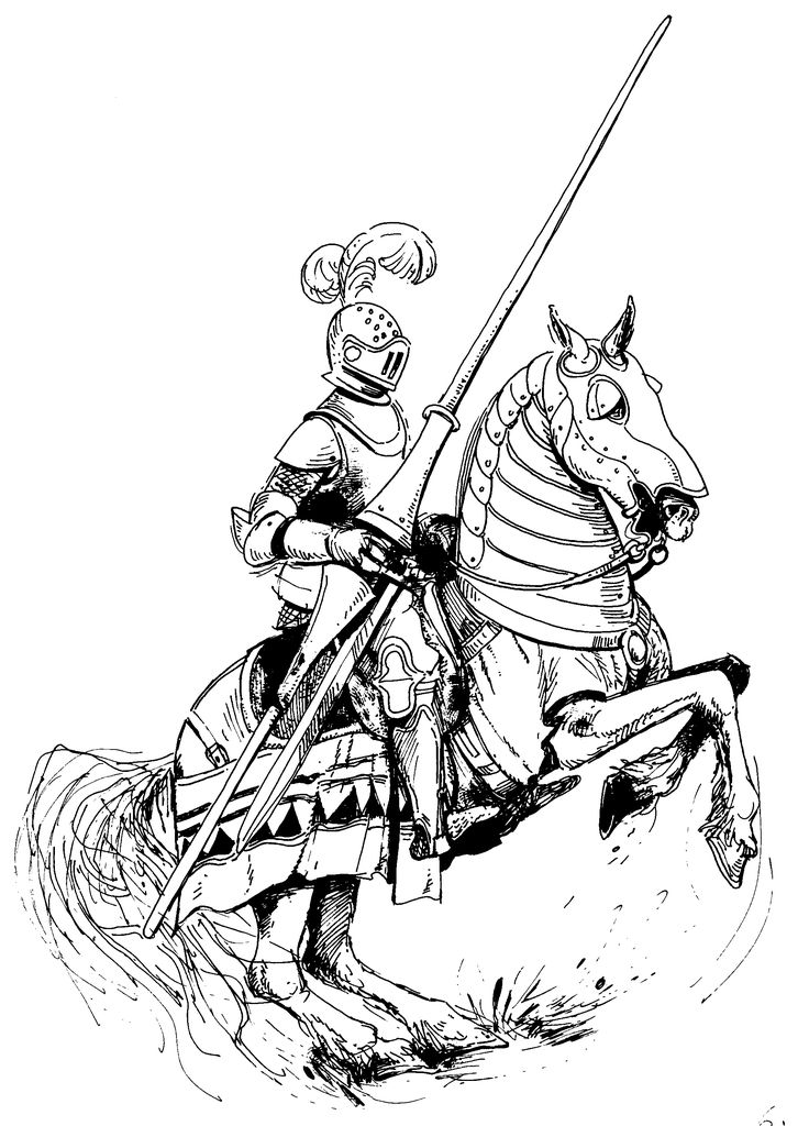 knight and horse coloring pages - photo#28