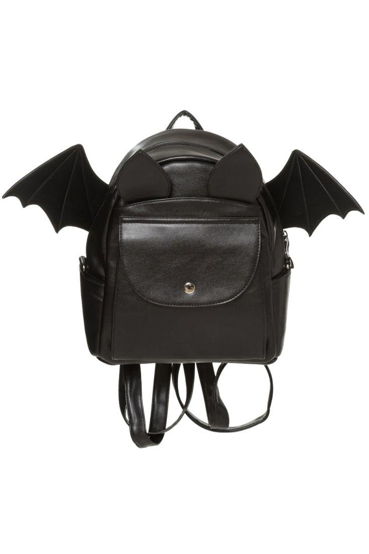 Banned Gothic Bat Rucksack, Waverley Backpack, Leather Look Bat Wing Shoulder Bag