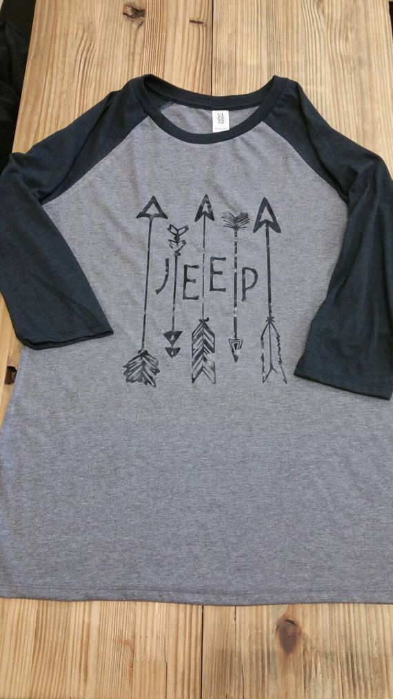 Jeep W/ Arrows Baseball T Shirt - Womens - Color Black/Gray
