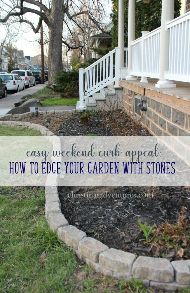 Easy weekend curb appeal project - garden edging with mini flagstones