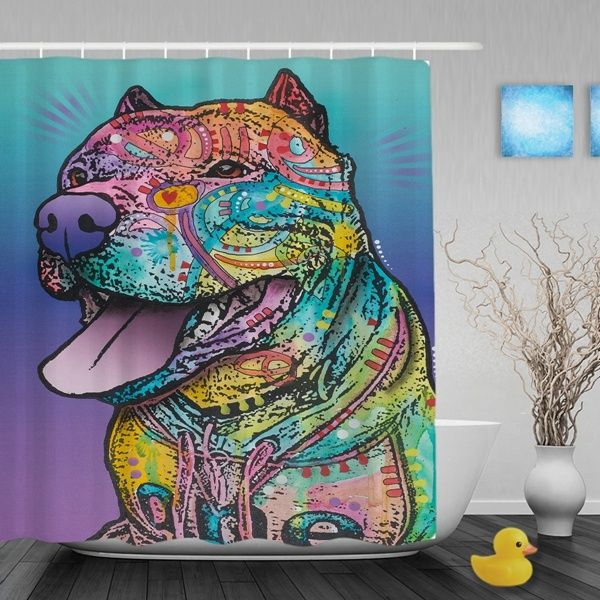Tribal Art Pitbull Shower Curtains Quality Bathroom Shower Curtains With Hanging Hooks And Reinforced Eyelets