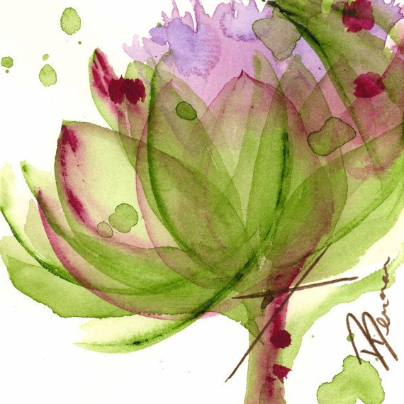 Modern Botanical Art Print  Artichoke Flower by dawndermanart, $20.00