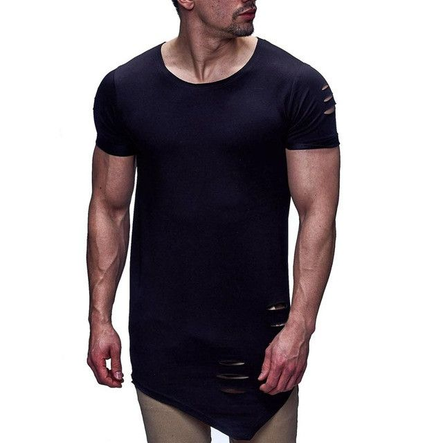 2016 Latest Men's Hip Hop Clothing Streetwear Male Ripped Hole Design T-shirt High Street Summer O-neck Slim Fit Tops Tees T17