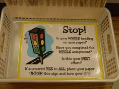 """What a great idea for turning in papers! Students can't """"peek"""" at papers turned in before theirs. I love it! (also a great way to see who did not turn in their paper, esp when names are missing!)"""