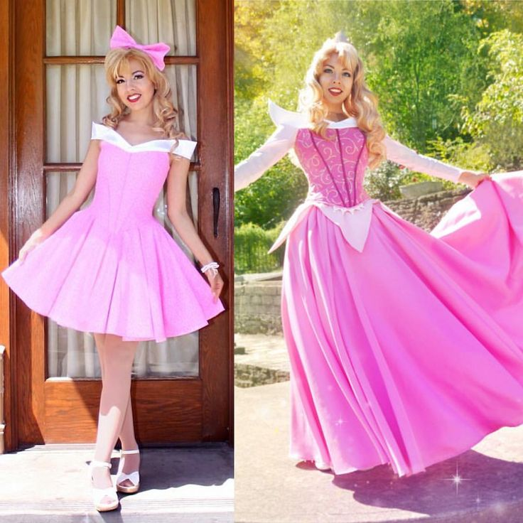 Side by side of my Aurora Dapper Day dress from yesterday and my Aurora cosplay…