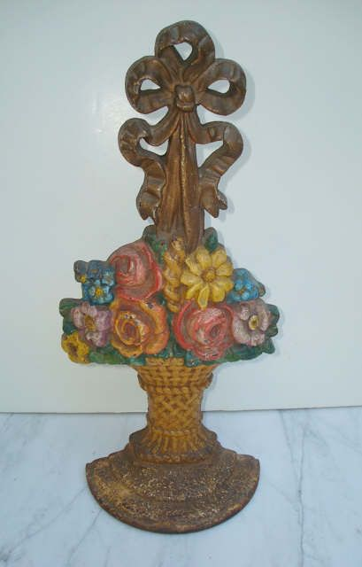 Large basket of flowers antique cast iron doorstop. I found this same one  at a sale yesterday! I scored. - 103 Best DOORSTOP LOVE Images On Pinterest Baskets, Doors And Irons