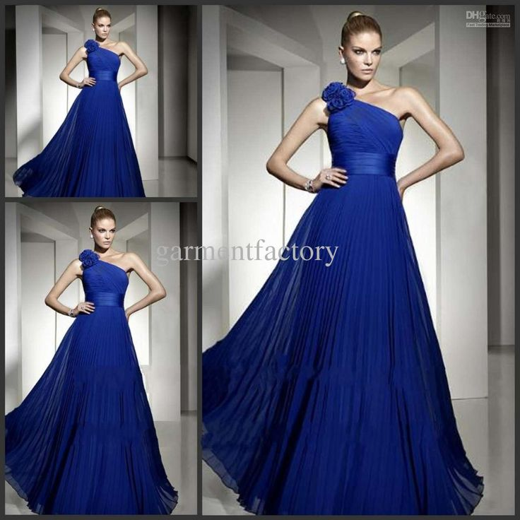 Wholesale Bridesmaid Dresses - Buy Royal Blue Bridesmaid Dresses One Shoulder A Line Long Chiffon Prom Dresses, $92.52 | DHgate