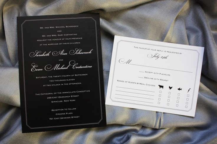 Formal Black with White Lettering Wedding Invitations and reversed White RSVP card with meal icons