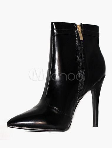 Nero punta tacco alto Ankel stivali In stile classico cerniera