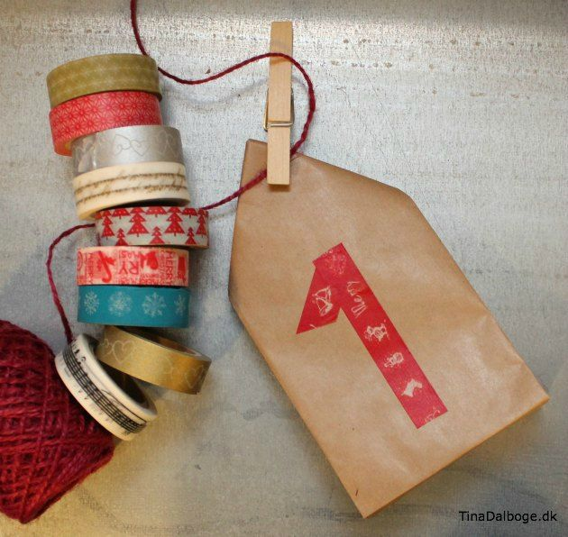 Pakkekalender - sådan kan du pakke gaverne ind på en hurtig og let måde. Klik og se idéen og papirsposerne i hvide og brune fra Tina Dalbøges Kreahobshop.dk