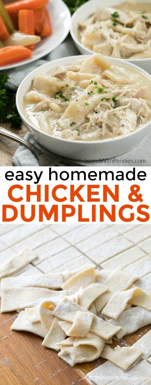 This is our absolute favorite chicken and dumplings recipe! Tender homemade dumplings in a delicious chicken broth.