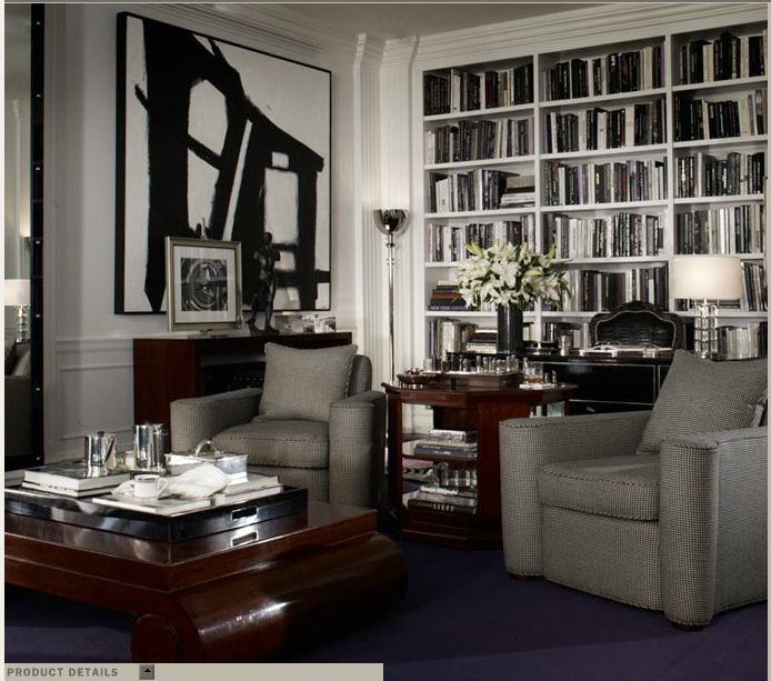 Ralph Lauren Home Brookstreet Collection Hollywood LA Glamorous Black And  White Gentleman Crisp Tailored Style