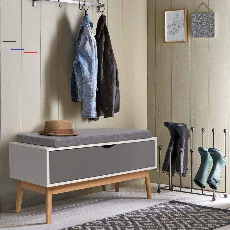 Banc coffre d'entrée chaussures LEO bois blanc et gris - 13505 - #meubleachaussuresentree i 2020