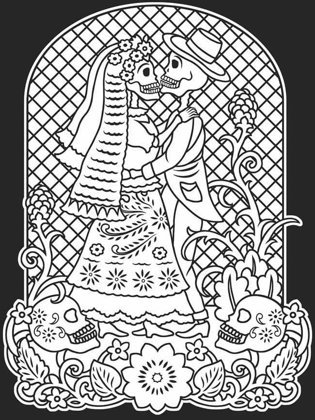 day of the dead coloring pages   Copy the images from this page, enlarge, and color for your own art ...
