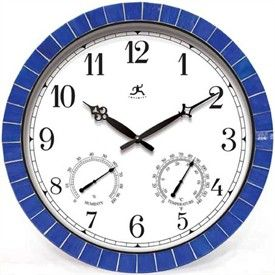 Blue Tile Clock - Indoor / Outdoor - Thermometer & Hygrometer