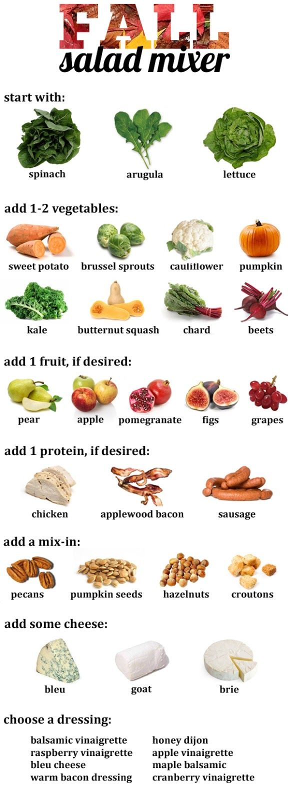 Fall Salad Guide: mix and match your own seasonal salad with ingredients like pumpkin, sweet potato, pears, figs, butternut squash, pumpkin seeds, and more!