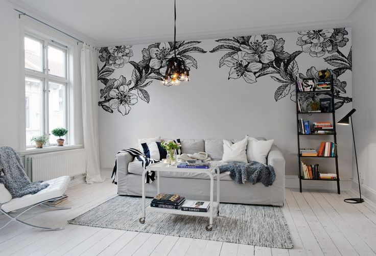 Hey, look at this wallpaper from Rebel Walls, Springtime Double, black & white! #rebelwalls #wallpaper #wallmurals