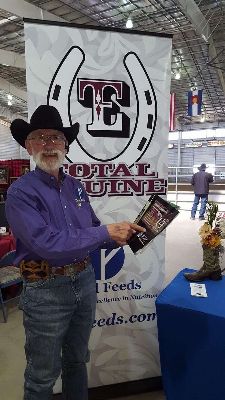 Dr. Anderson of Total Feeds, Inc. got his hands on the brand new issue of The Working Horse Magazine.  Dr.  Anderson is a major sponsor of WRRA (Women's Ranch Rodeo Association) and is here at the finals in Loveland, CO!  Pick up your copy of the October issue of WHM, which is dedicated to equine health and nutrition and then go talk to the Doc about his line of Total Feeds!