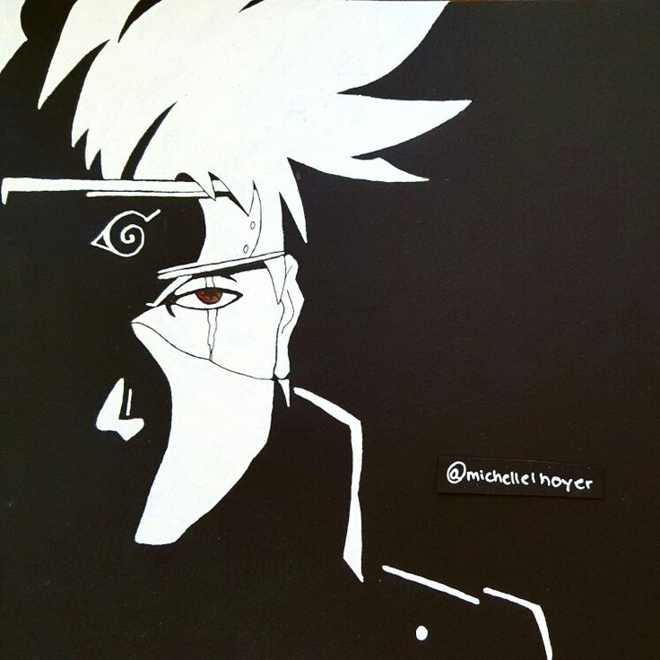 My drawing of Kakashi Hatake from Naruto in black and white