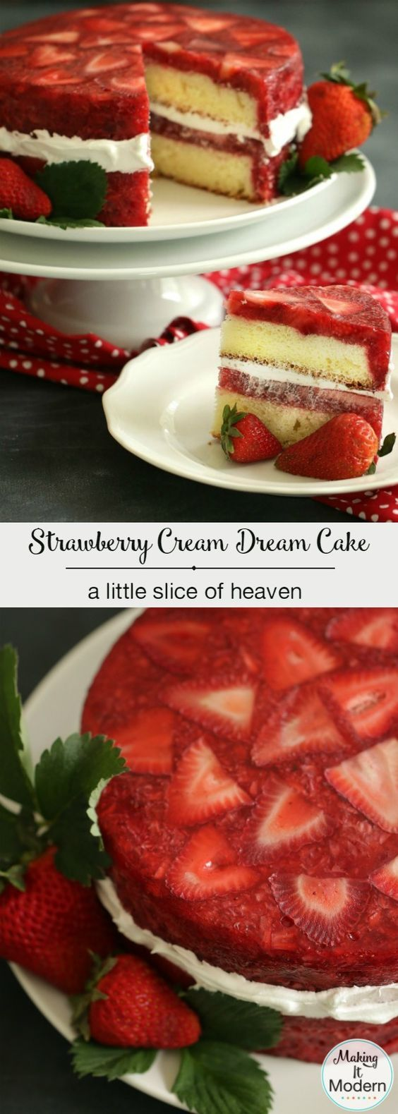 This strawberry cream dream cake is a little slice of heaven! Includes the vintage recipe and a fun how-to video!