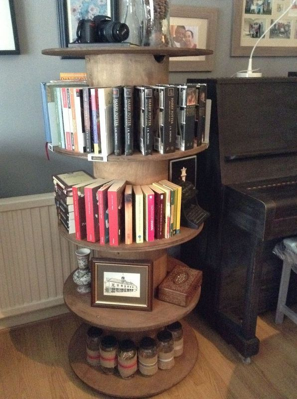 cable reel from construction sites to bookcase, repurposing upcycling, rustic furniture, shelving ideas, Style with books