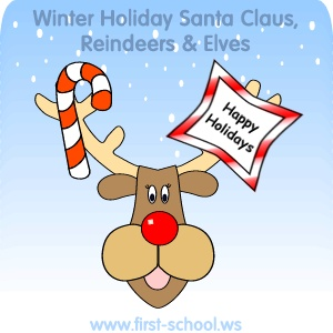 FREE Santa Claus, Elves and Reindeer Theme printable activities & crafts for toddlers, preschool, kindergarten to 2nd grade.