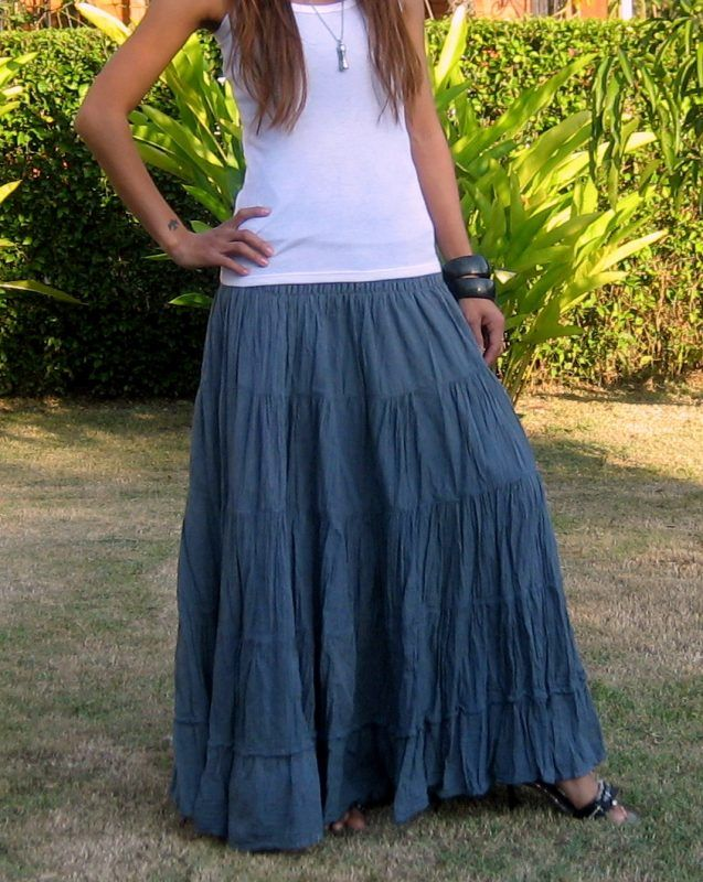 953ccce67 Plus Size Maxi Skirt * Long Skirts for Women * Elastic Smocked Waist * Free  Shipping * SL-Plus-Grey