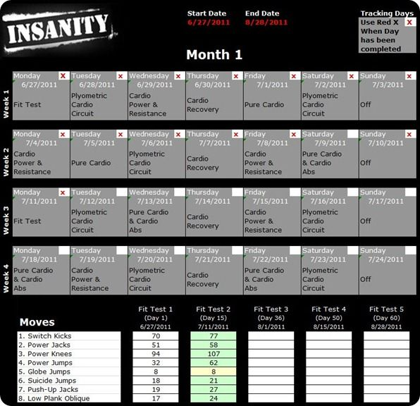 Print a detailed Insanity Workout Schedule and get started with the 60 day Insanity challenge. Same Insanity Workout Calendar that comes with the program.