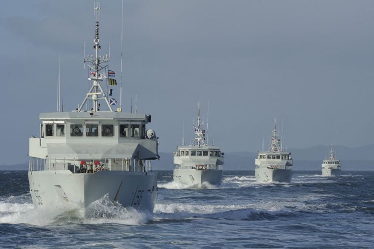 Royal Canadian Navy:Seven Orca-class Patrol Craft Training (PCT) vessels recently conducted a formation exercise in the Strait of Juan de Fuca, near Victoria, British Columbia.Vessels taking part included PCT Orca, Raven, Renard, Wolf, Grizzly, Cougar, and Caribou.