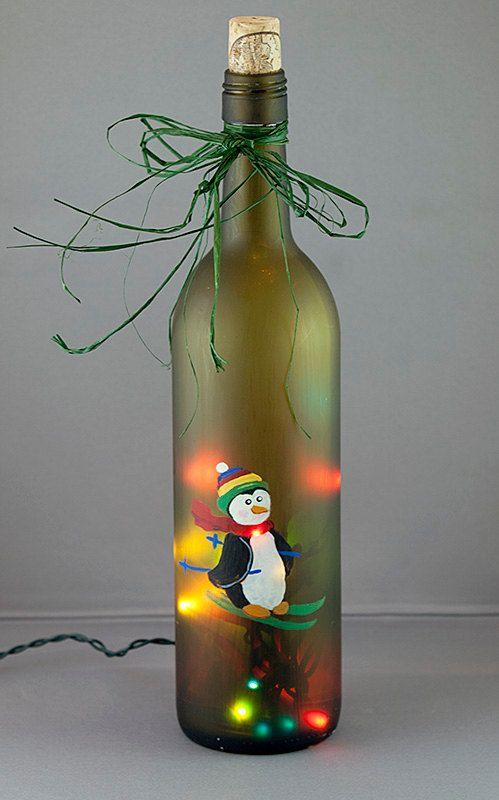 Wine Bottle Christmas Lights | Penguin Skiing Lighted Wine Bottle Hand Painted Seasonal Christmas ...