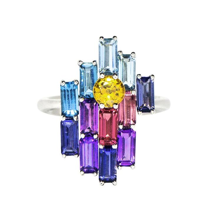Daou Morning Bright multicolour gemstone ring in white gold