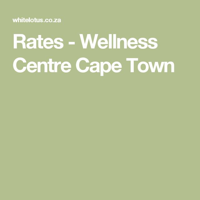 Rates - Wellness Centre Cape Town