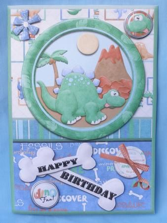 Happy Birthday Dinosaur Quick Card on Craftsuprint created by Susan Smith - With this design i printed it out twice onto white card, then after cutting out all the elments i scored and folded the main card, then with the second sheet i cut out most of the elements and placed these on my main card using 2mm sticky pads for height, this is a terrific design was very easy to cut and make up and is stunning when done, im sure any child would love this bright and colourful design.