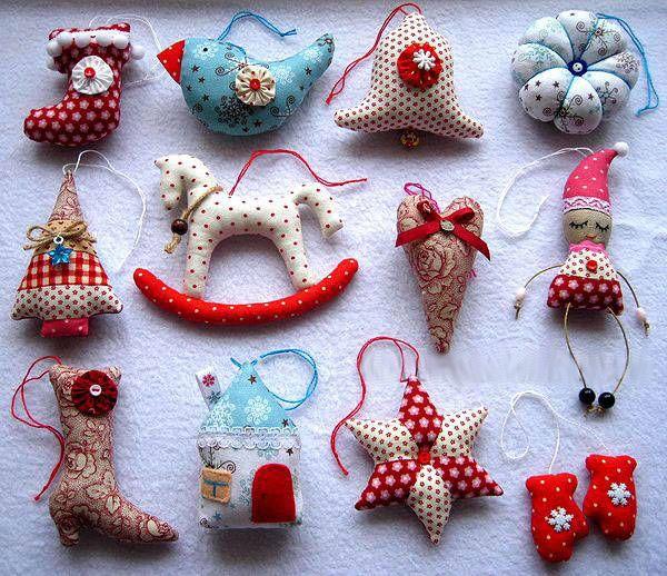 Ёлочные игрушки из ткани (своими руками)