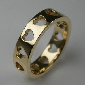 Bespoke Hearts Wedding Ring 18 Carat Yellow Gold
