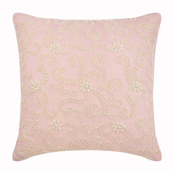 Heart Of Pearls Pink Linen Throw Pillow Cover Linen Throw Pillow Pink Throw Pillows Pink Pillow Covers