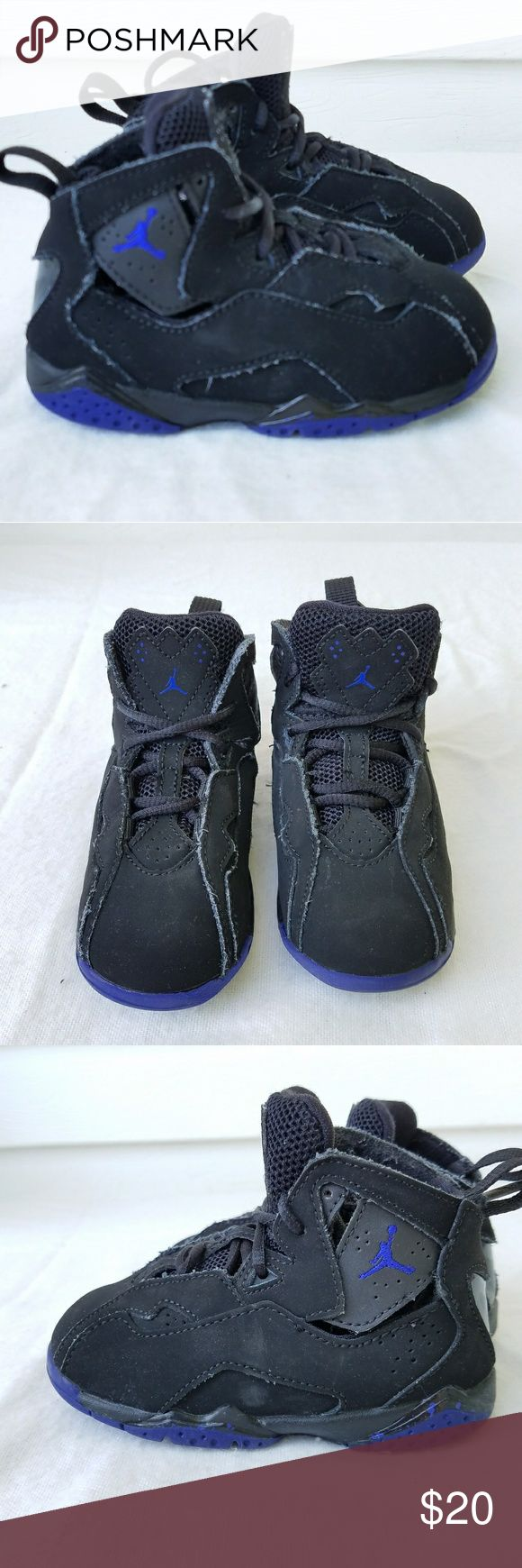 Baby Jordan True Flight Black Toddler Size 7 toddler.  Pretty good condition,  some minor wear. Black and Purple. Jordan Shoes Sneakers