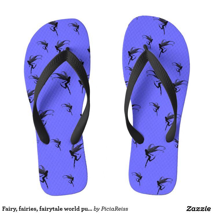 Fairy, fairies, fairytale world purple flip flops