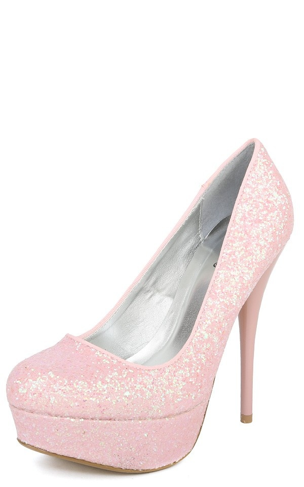 Light pink sparkly pumps – abdw