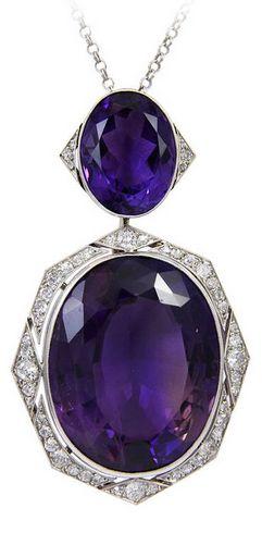 *Art Deco Amethyst Diamond Pendant Necklace, .