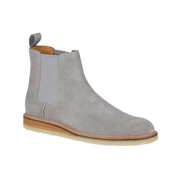 Men's Sperry Top-Sider Gold Crepe Chelsea Boot (4,090 MXN) ❤ liked on Polyvore featuring men's fashion, men's shoes, men's boots, casual, grey, leather boots, sperry mens shoes, mens gray shoes, mens grey shoes and men's crepe sole shoes