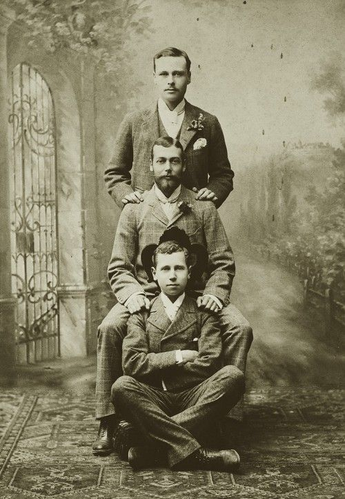 Three cousins: Ernst of Hesse and By Rhine, Prince George of England, and Alfred of Saxe Coburg. This image was taken th...