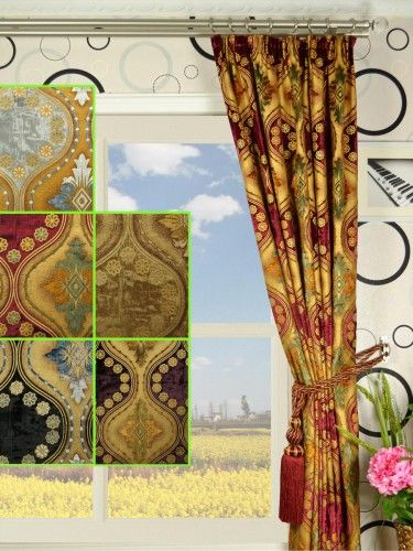 Maia Vintage Damask Pencil Pleat Velvet Curtains - Custom Curtains Drapes Draperies Sheers Rods and Tracks