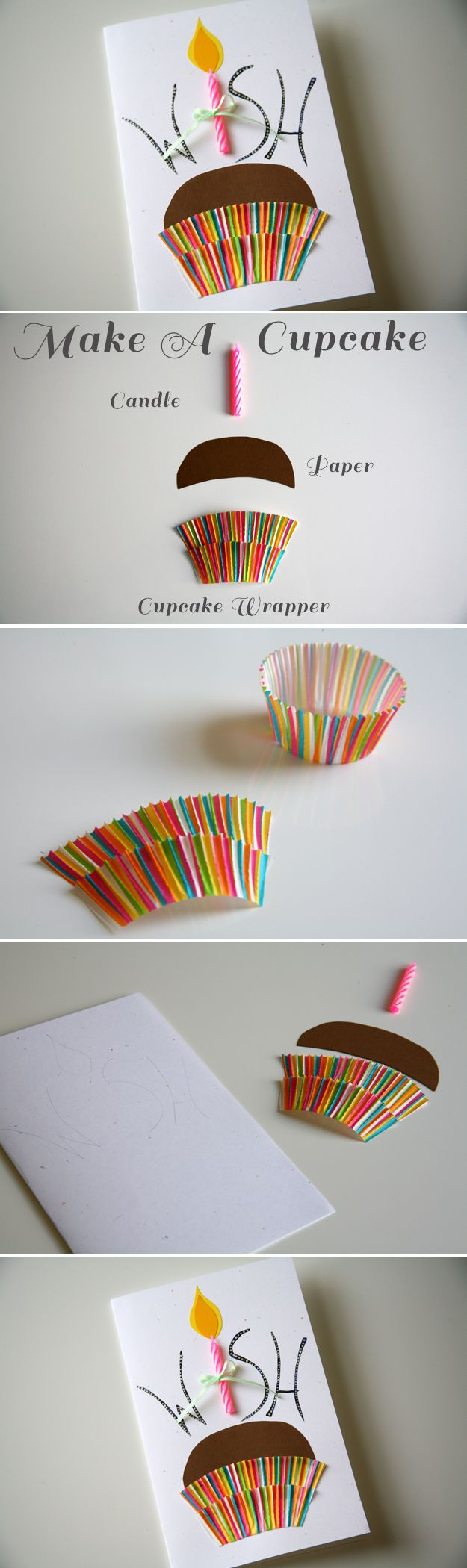 Make this simple and precious birthday invitation using only a few items that you probably have around the house (Pinning for future reference because I like the idea of layering the cupcake wrapper. Skirt? We'll see... --Misty)