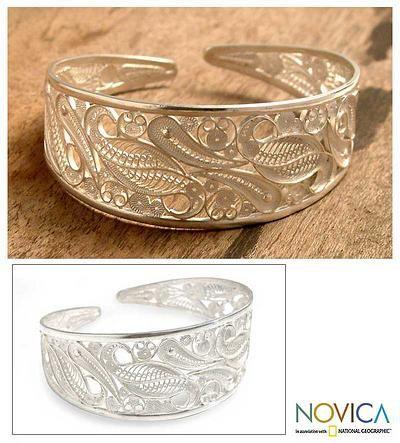 Silver filigree cuff bracelet - Floral Breeze - NOVICA