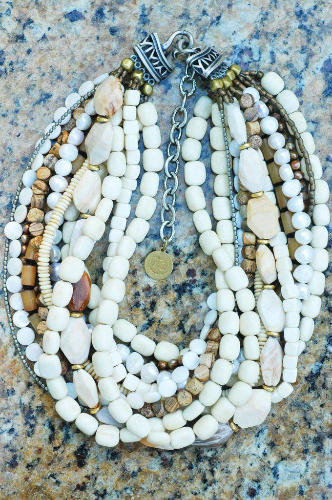 Designer Multi-Strand Bone,Shell and Pearl Statement Choker Necklace