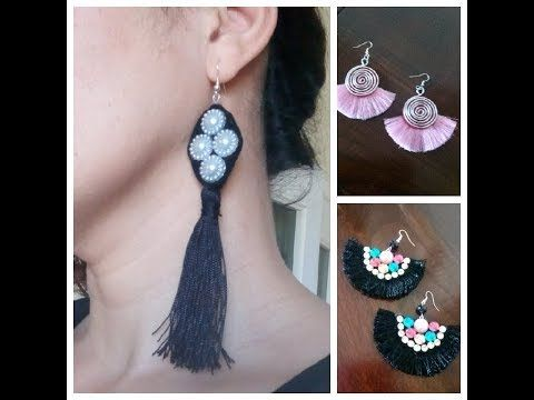 d9a3622c287e 3 tipos de Aretes BORLAS facil Aretes de hilo Pendientes  Tassel  Earrings Como hacer How to make DIY - YouTube