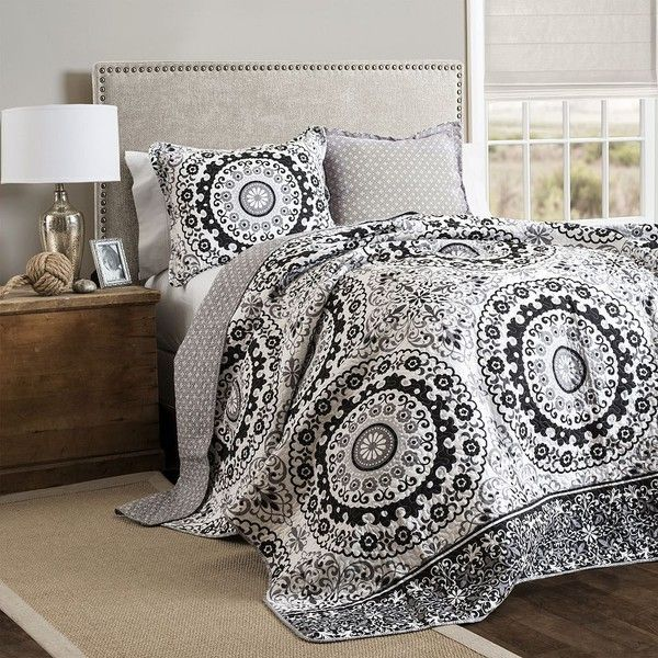 Lush Decor Laurelwood Circle 3-pc. Quilt Set (Grey) featuring polyvore, home, bed & bath, bedding, quilts, grey, king size bedding, king size pillow shams, gray pillow shams, queen quilt set and king size quilt sets