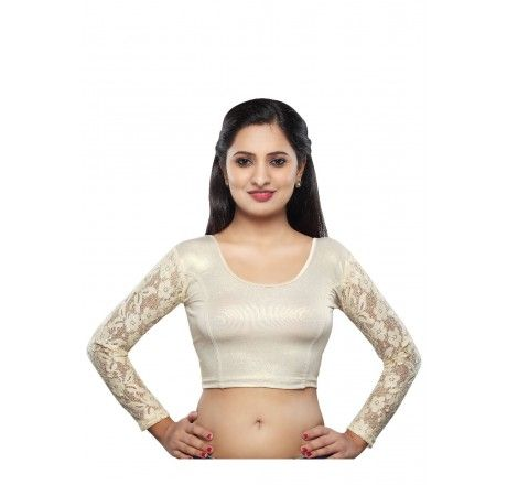 Shimmer stretchable blouse with net and lycra - Stretchable Lycra & Velvet Blouse - Blouses - Saree,Blouse & more